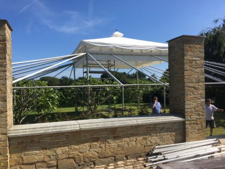 Tent, framework, Cornish wedding.