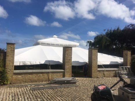 Roof of Indian summer wedding tent.